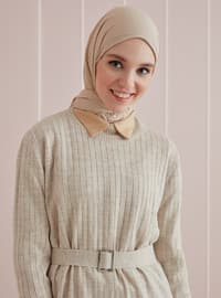 Combed Cotton Jersey Shawl - Viscose - Beige