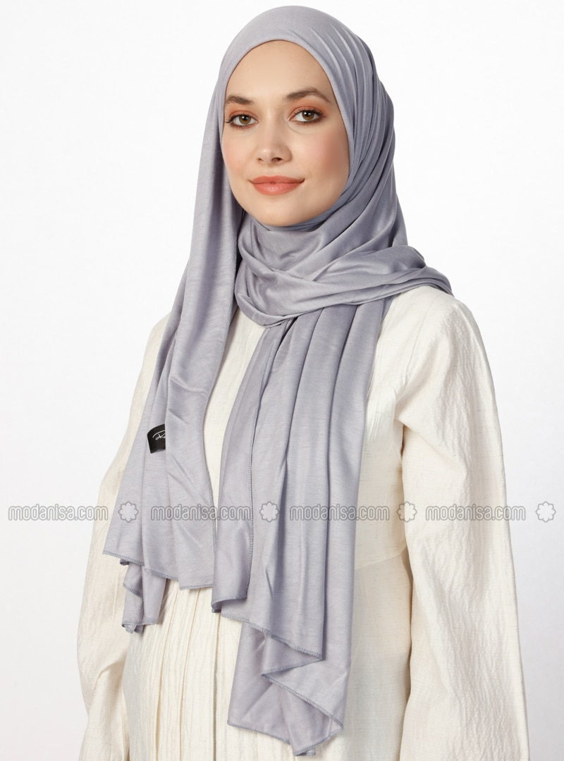 Combed Cotton Jersey Shawl - Viscose - Gray