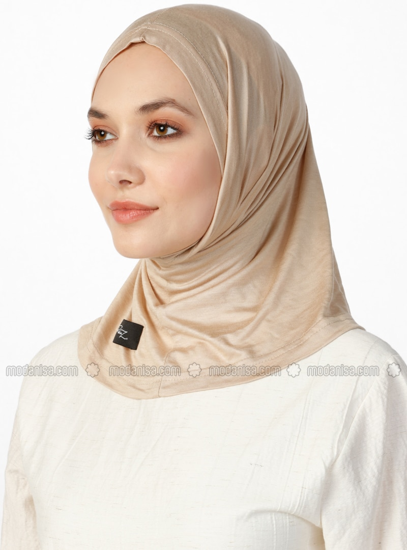 Combed Cotton Jersey Bonnet - Viscose - Beige