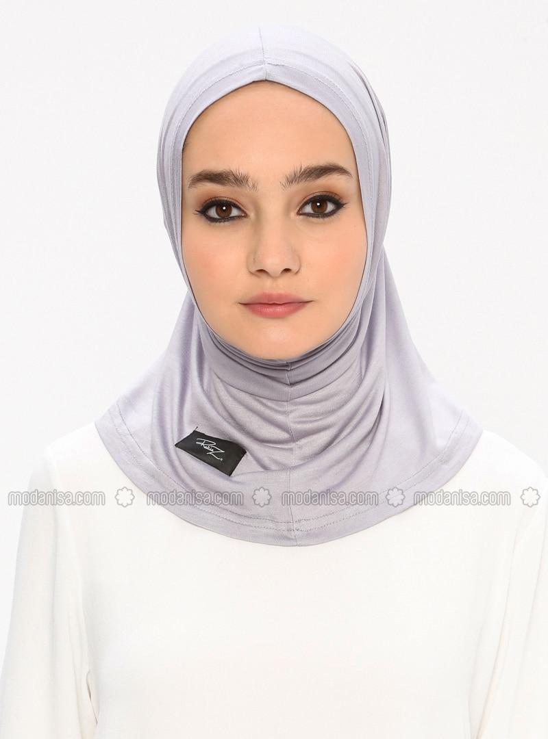 Gray - Simple - Viscose - Jersey - Bonnet