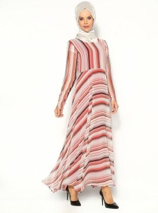 Çizgi Desenli Elbise - Kırmızı- Vivezza