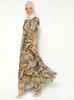 Vivline Zincir Desenli Elbise - Sarı- Vivezza