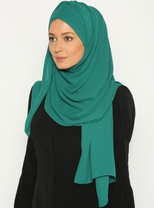 3-Part Layered Pleated Triangle - Magnetic Bonnet Shawl - Green
