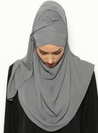 3-Layer Pleated - Semi-instant Shawl - Gray