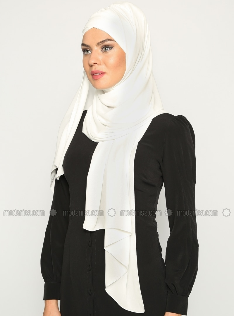 3 Layer Pleated - Semi-instant Shawl - Ecru