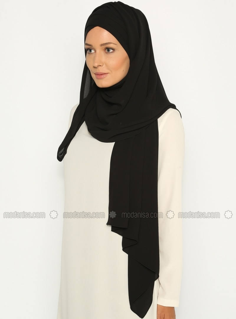 Black - Pinless - Instant Scarf