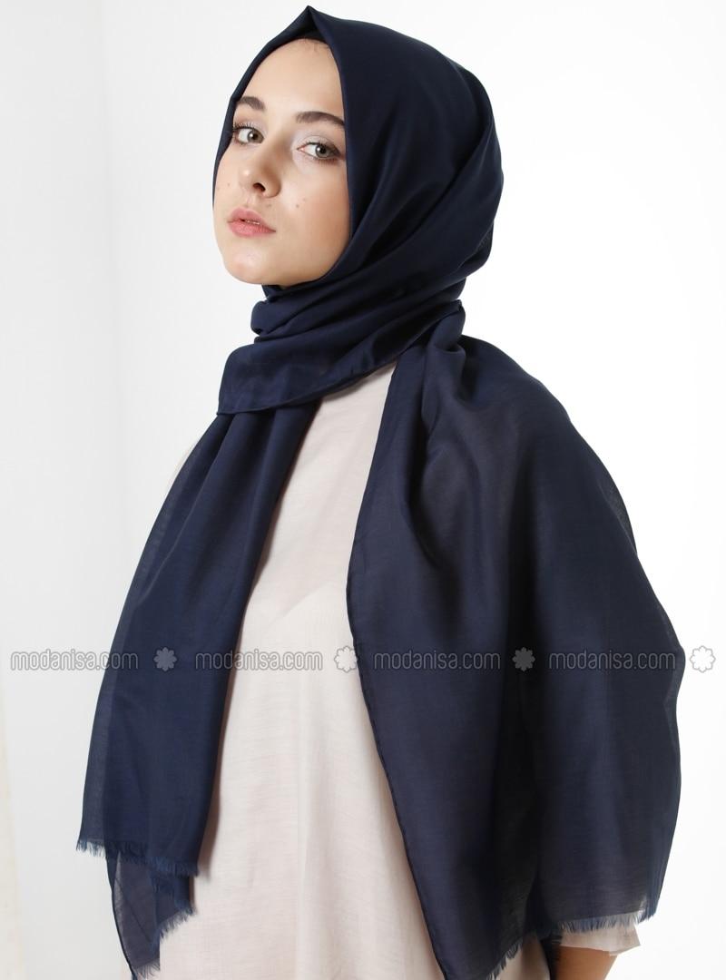 Silk Voile Shawl - Navy Blue -  Esarp