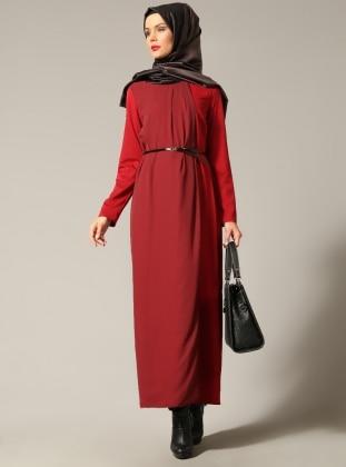 Şifon Detaylı Elbise - Bordo - Refka