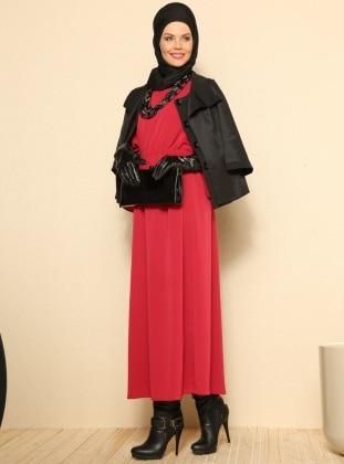 Yarasa Kollu Elbise - Bordo - Refka
