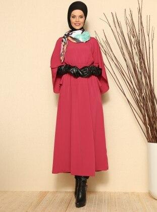 Yarasa Kollu Elbise - Fuşya - Refka