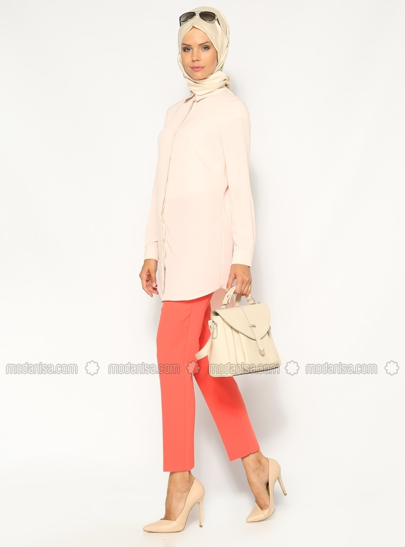 Slim-fit Pants - Vermilion