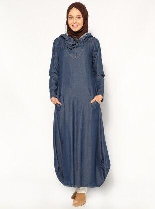 Kapüşonlu Tensel Elbise - Koyu Mavi