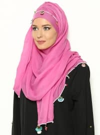 Band Pinked Semi-instant Shawl - Fuchsia