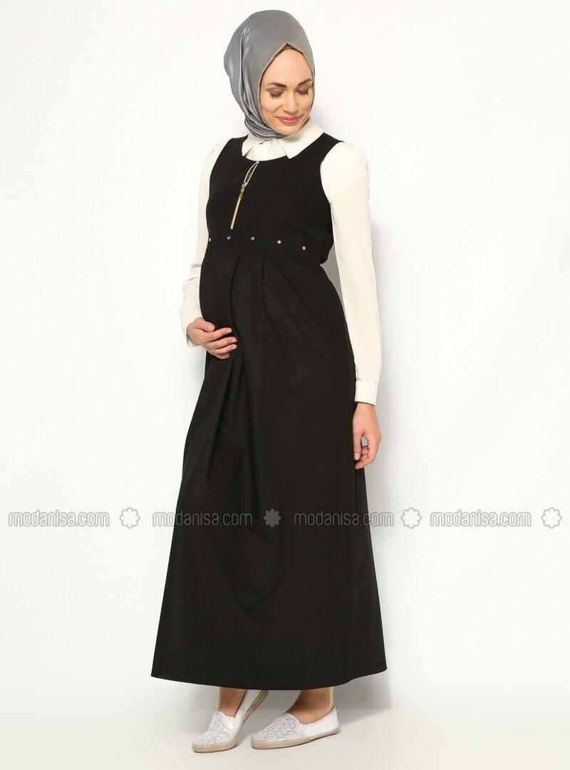 Z fermuarli mod hamile jile siyah havva ana 152693 1g zippered maternity dress black havva ana ombrellifo Image collections