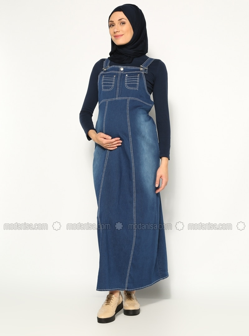 Maternity jeans Jila - Blue - Dresses - Modanisa