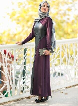 Deri Detaylı Elbise - Mürdüm Armine