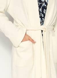 Buttonless Felt Topcoat  - Ecru