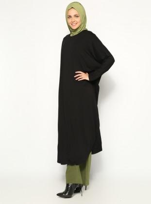 Penye Salaş Tunik- Siyah