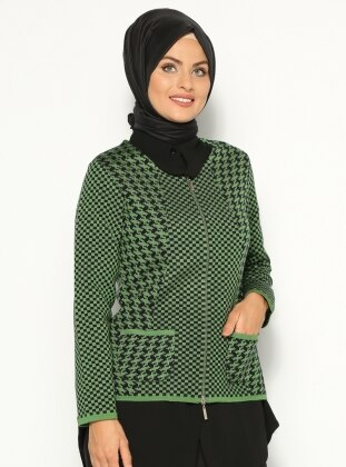 Triko Ceket - Yeşil Lacivert Sementa