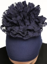 Combed Cotton Bonnet - Navy Blue