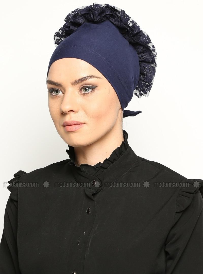 Combed Cotton Bonnet - Navy Blue