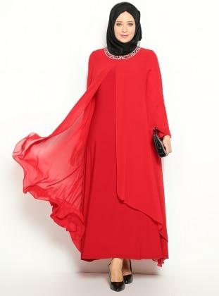 He & De Taş İşlemeli Abiye Elbise - Kırmızı - He&De