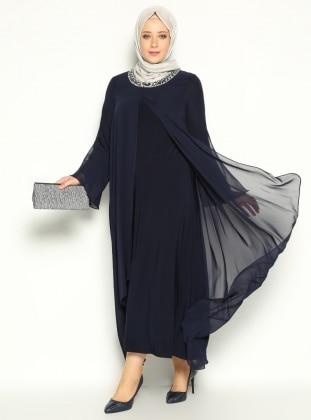 Taş İşlemeli Abiye Elbise - Lacivert - He&De