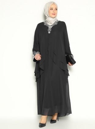 Taş İşlemeli Abiye Elbise - Siyah - He&De
