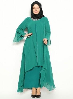 Taş İşlemeli Abiye Elbise - Yeşil - He&De