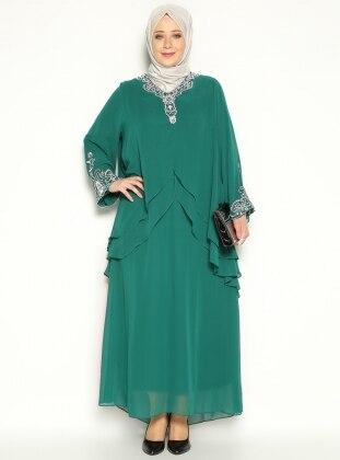 Taş İşlemeli Abiye Elbise - Yeşil- He&De
