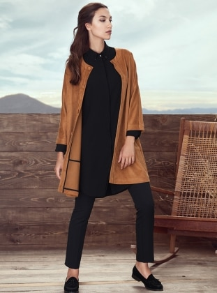 Camel - Button Collar - Trench Coat