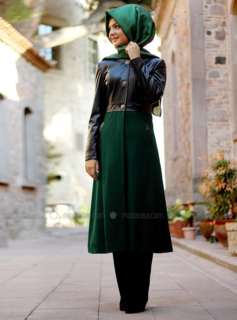 Leather Detailed Felt Top Coat - Green - Pinar Sems