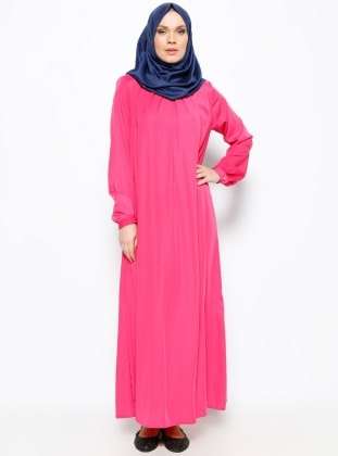 Yakası Pileli Elbise - Fuşya - Modanaz ModaNaz