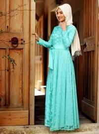Alanur Romantik Kalpli Elbise - Mint Yeşil - Nurkombin