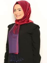 İpek Şal- Lacivert-Kırmızı -Mısırlı