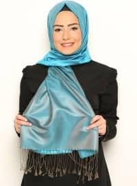 Silk Scarf - Mink-Turquoise - Misirli
