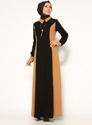 İki Renkli Elbise - Hardal - Bürün BÜRÜN