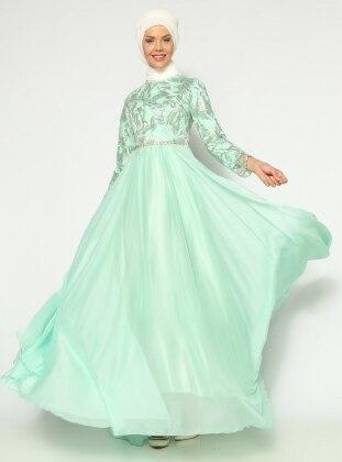 Güpürlü Abiye Elbise - Mint Mileny