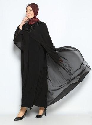 Boncuk İşlemeli Abiye Elbise - Siyah - He&De He & De