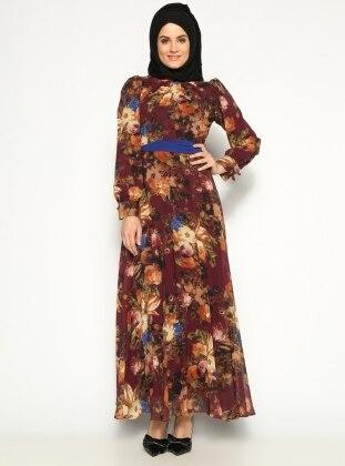 Dijital Baskı Elbise - Bordo Belle Belemir