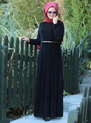Kadife Elbise - Siyah