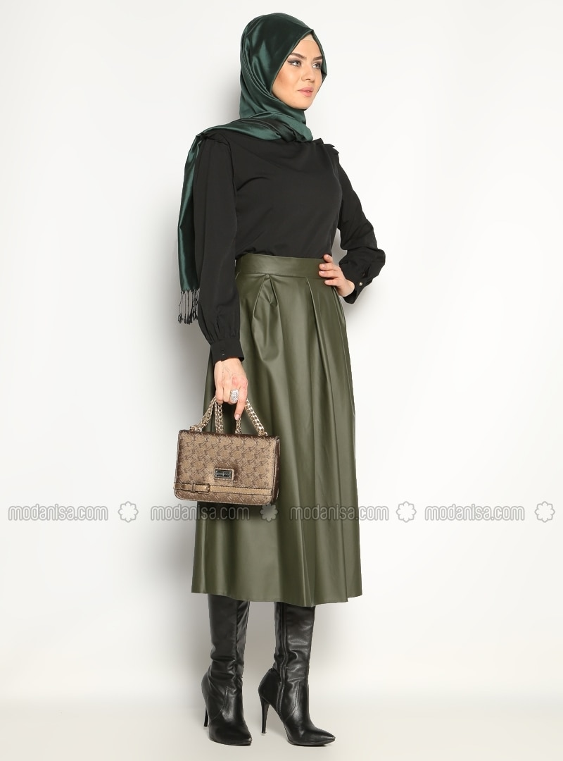 Leather skirt - Green - Skirts - Modanisa