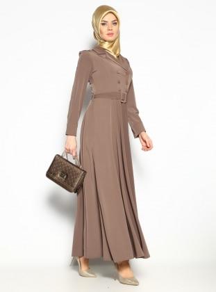 Düğmeli Elbise - Vizon - Bürün