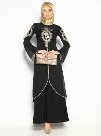 Güpürlü Abiye Elbise - Siyah - Bürün