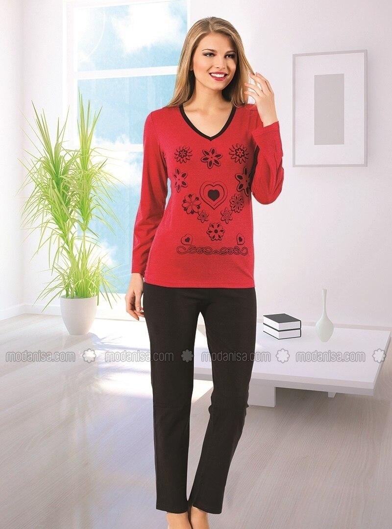 Long Sleeve Pyjama Set - Red-Black - Akbeniz
