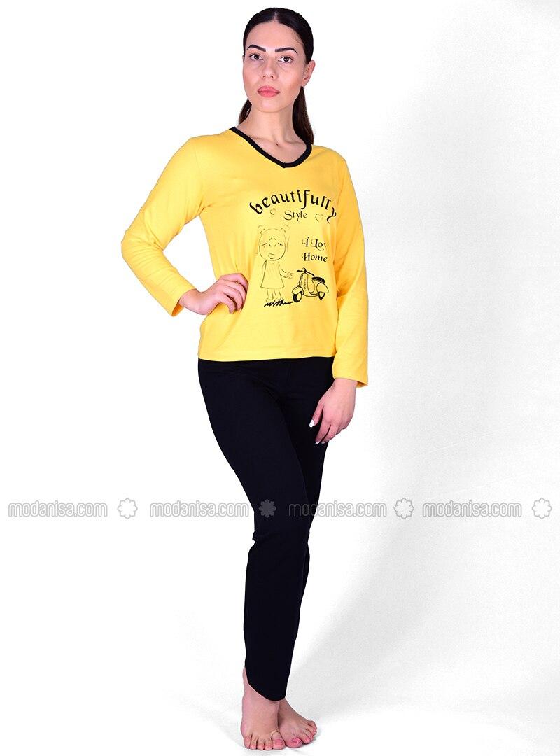 Long Sleeve Pyjama Set - Yellow-Black - Akbeniz