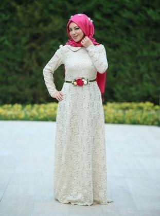 Şura Payet Dantel Abiye Elbise - Krem