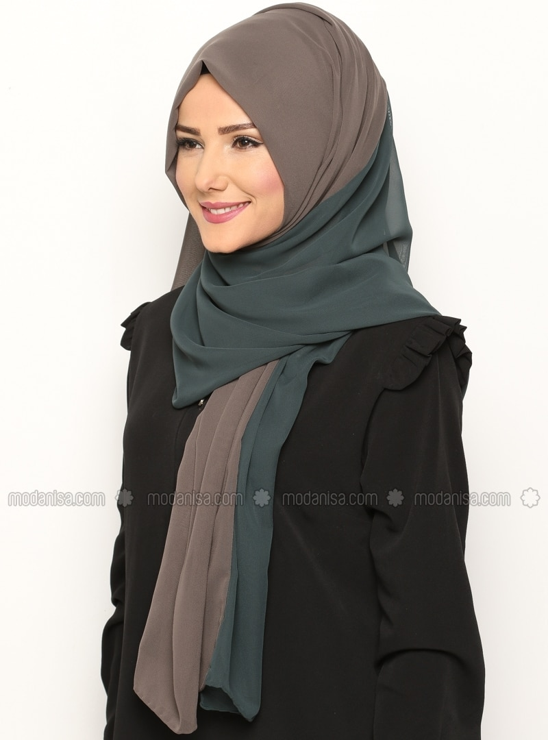 Dual Color Chiffon Shawl - Petrol - Light Brown -  Esarp