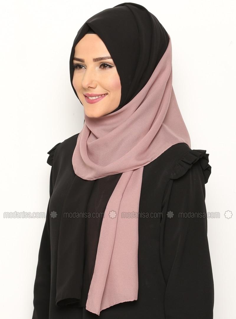 Dual Color Chiffon Shawl - Black Rose - Argite Esarp