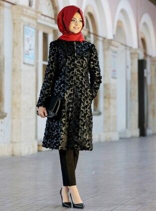 Carmen Fermuarlı Kaban - Siyah Pınar Şems